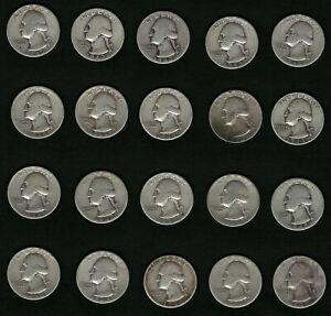 Lot-of-20-US-Washington-Silver-Quarters-Coins-Years-1943-1944-1945