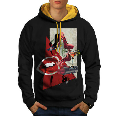 Gewidmet Wellcoda Lady Stylish Fashion Mens Contrast Hoodie, Glamour Casual Jumper