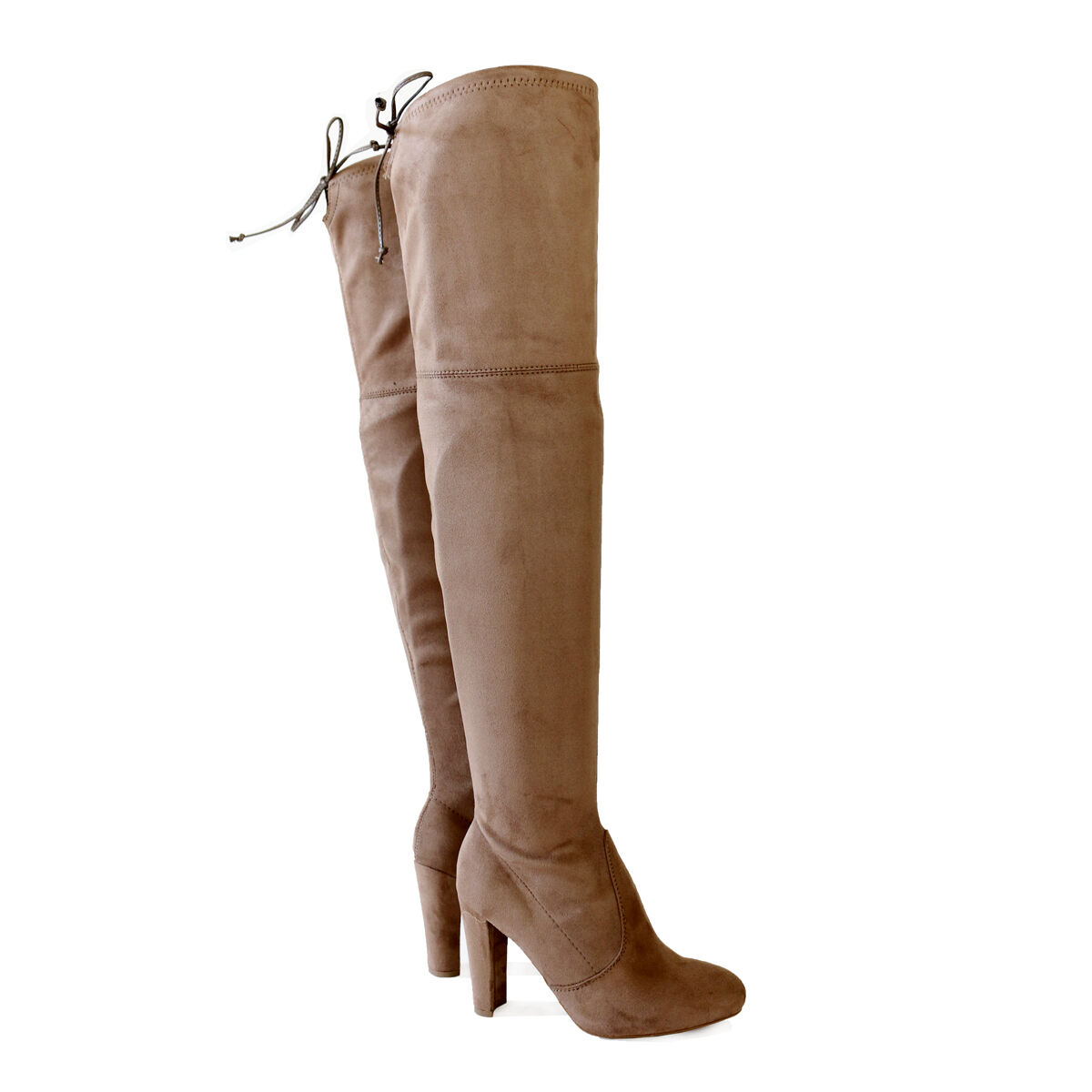 Stretch Suede  3.75 in. Covered Thick Heel  Over The Knee Thigh-High Boots Taupe