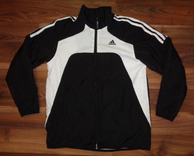 Girls Youth Adidas black white Athletic Track Jacket Large/XL Mesh Lined