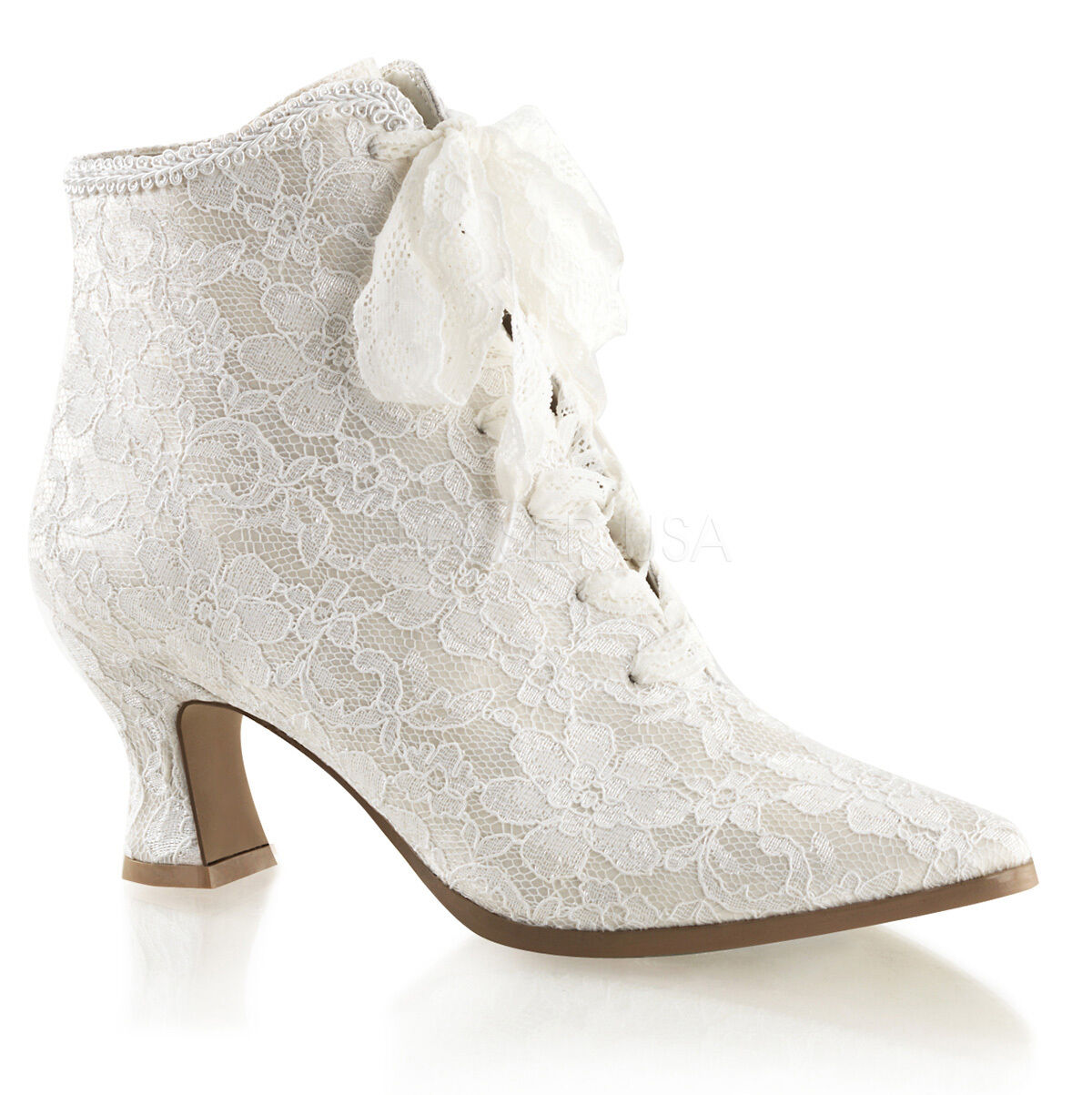 Ivory Off WEISS Lace Bridal Victorian Flapper Wedding Schuhes Ankle Stiefel Womans