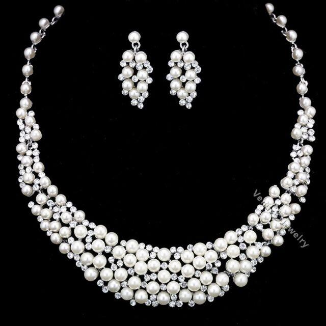 a6a1ae4e2bd Floral Rhinestones Crystal Pearls Bridal Wedding Prom Necklace Earrings Set  N340
