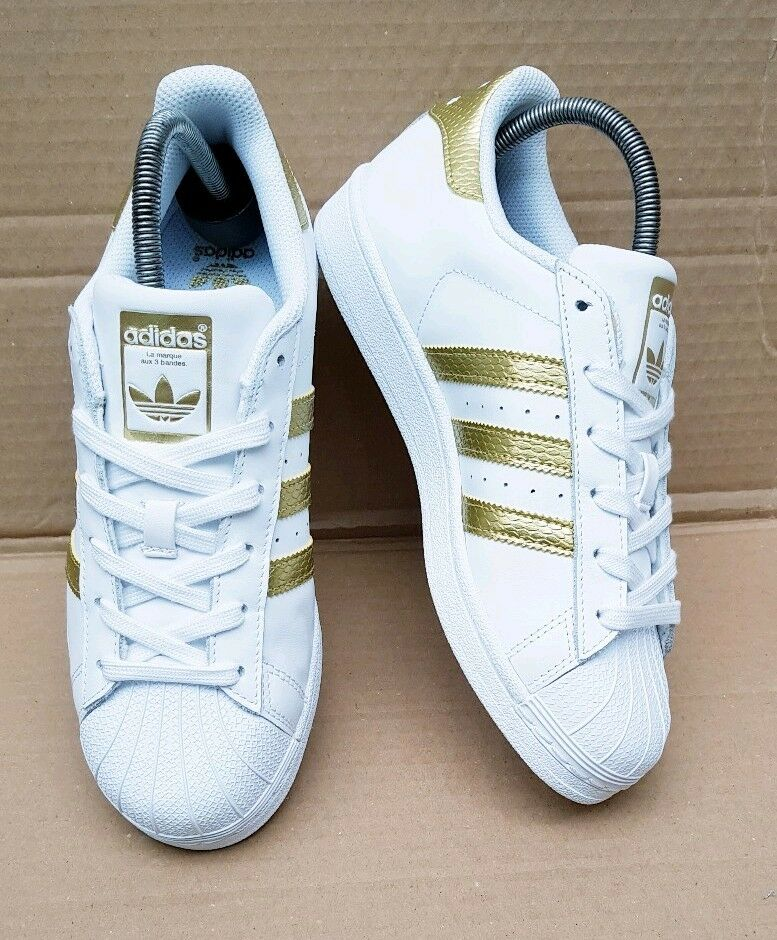 NEW GORGEOUS ADIDAS SUPERSTAR Weiß & Gold REPTILE TRAINERS TRAINERS TRAINERS Größe 5 UK RARE NEW bbe2cd