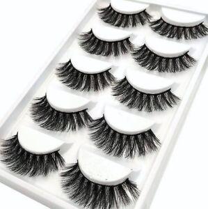 58b12a2782f 5pair 3d Mink False Eyelashes Wispy Cross Long Thick Soft Fake Eye Lashes UK