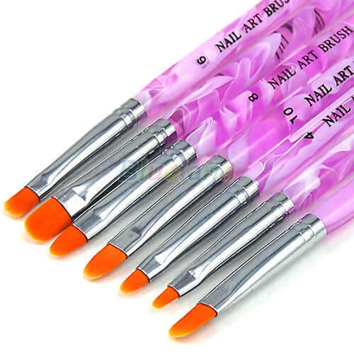7Pcs Set UV Gel Acrylic Nail Art Builder Brush Pen Painting Nail Art Accessories