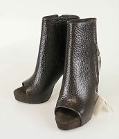 Brunello Cucinelli Brown Pebbled Leather Open Toe Heels Shoes 37/7 $1855 on sale