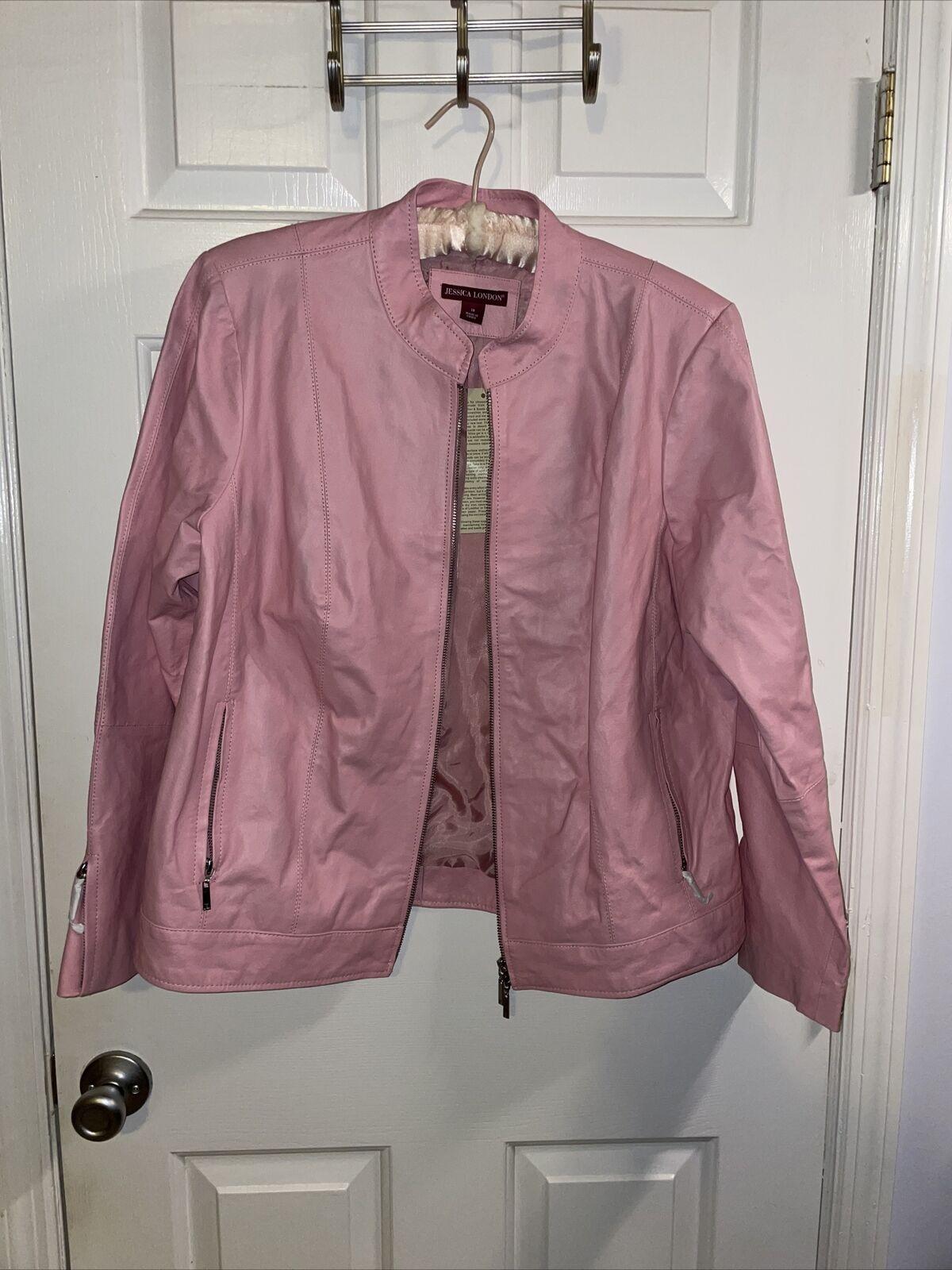 Leather jacket coat by Jessica London Pink sz 18 w l/xl pockets zip