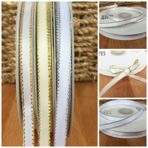 white or ivory //silver// gold Lurex edge satin ribbon 6mm wide sold per 3 metres