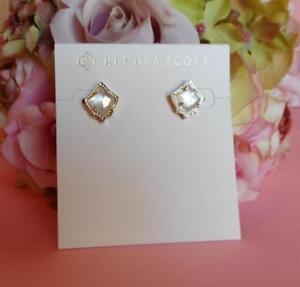 77221ef19 Kendra Scott Kirstie Ivory Mother of Pearl Stud Earrings NWT | eBay