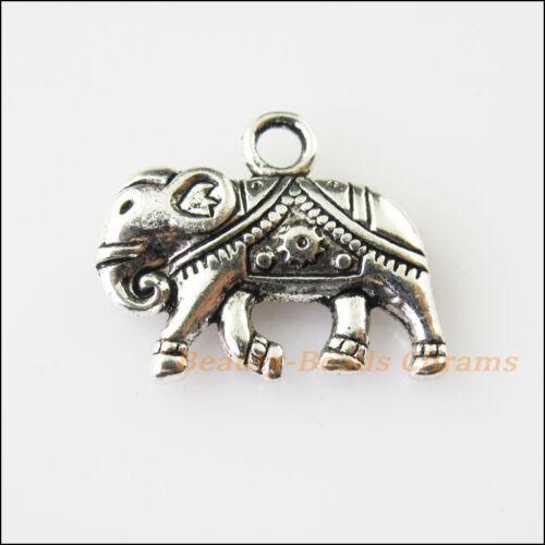 3Pcs Antiqued Silver Tone Animal Heart Elephant Charms Pendants 17x21mm