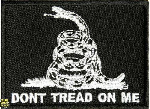 "Don/'t Tread On Me Black Iron On Patch 3/"" x 2/"" Free Ship Military Veteran P3131"