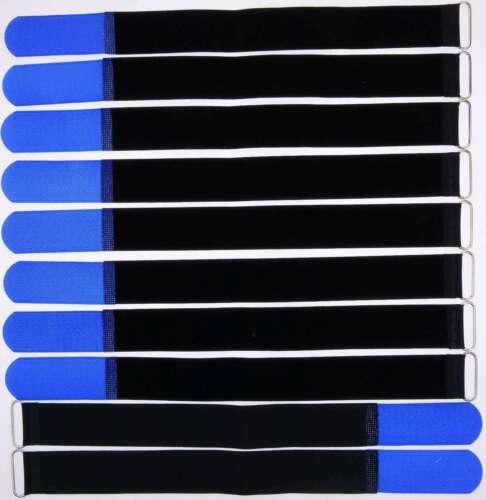 10 x Cavo nastro di velcro 40 CM x 40 mm blu nastro di velcro Velcro Fascette per cavi a nastro con ponticello