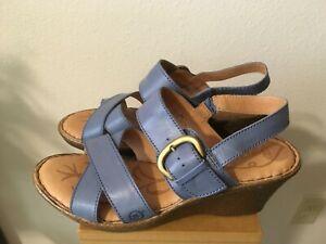BORN Blue Leather Women's 9M Open Toe