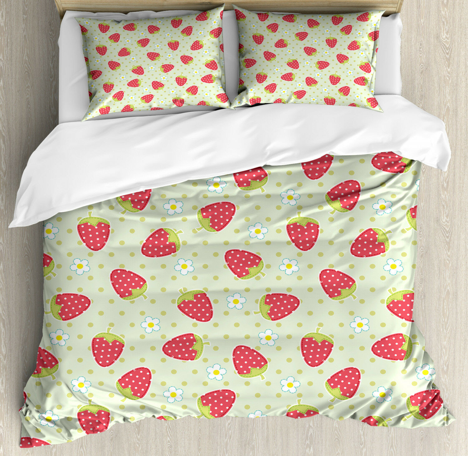 Fruits Duvet Cover Set with Pillow Shams Spring Blossoms Cartoon Print