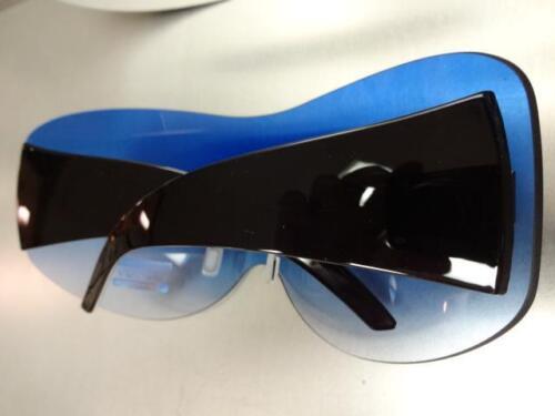 OVERSIZED VINTAGE RETRO SHIELD VISOR Style SUN GLASSES Rimless Frame Blue Lens