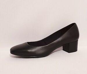 M\u0026S Black Genuine Leather Mid Heels