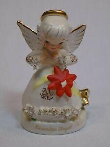 Napco-Ceramics-December-Birthday-Christmas-Angel-Figure-A1372-Japan-Poinsettia