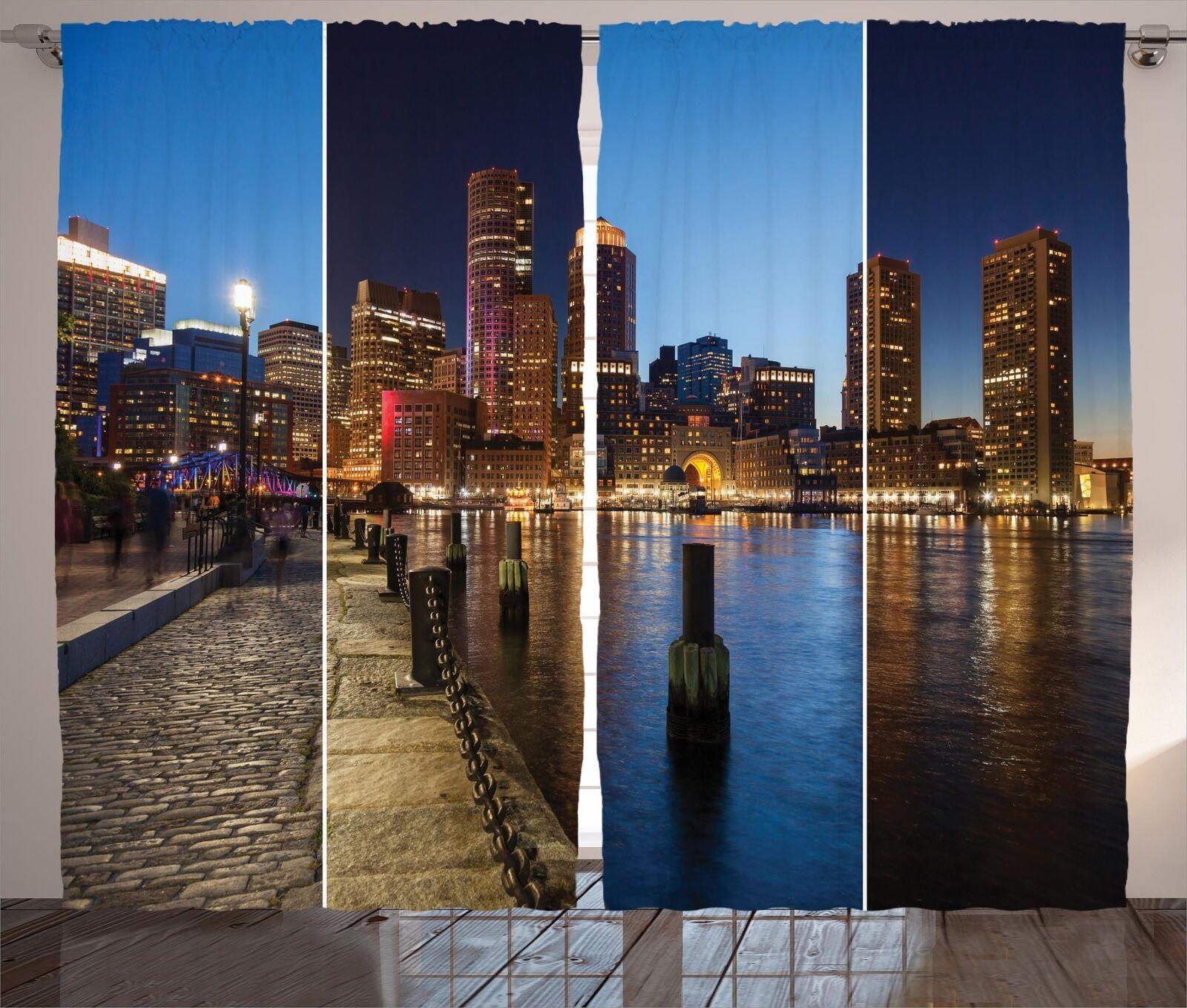 American Cortinas 2 Panel Decoración conjunto 5 tamaños de ventana Cortinas ambesonne