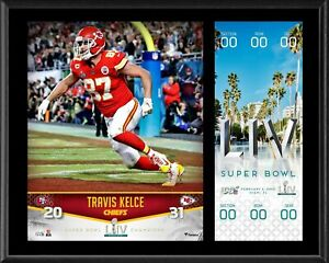 "Travis Kelce KC Chiefs 12"" x 15"" Super Bowl LIV Champs Plaque & Replica Ticket"