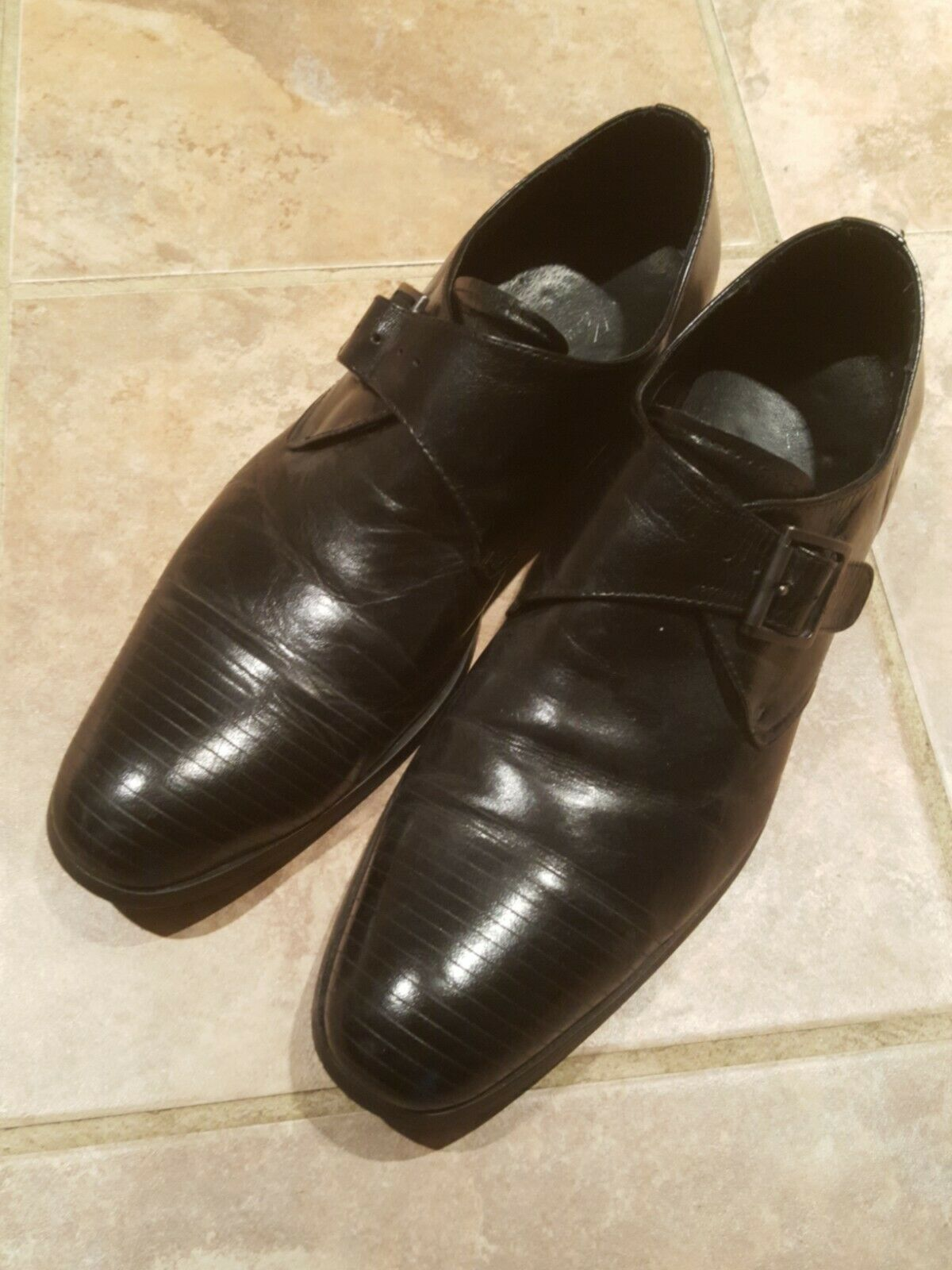 Men KENNETH COLE Leather Monk Strap Loafers SIZE 10 M