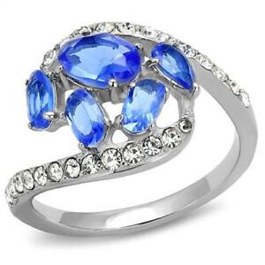 3211-STAINLESS-STEEL-SIMULATED-DIAMOND-RING-OVAL-PEAR-SAPPHIRE-CLUSTER-WOMENS