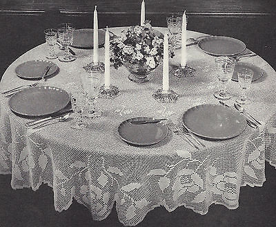 Vintage Crochet PATTERN to make Filet Round Tablecloth 72 inches Rose FiletRound