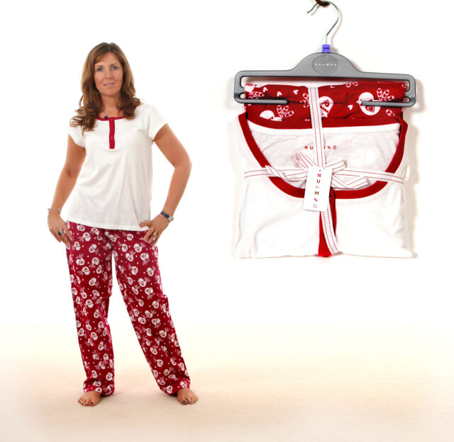 FAB FESTIVE LADIES COTTON PYJAMAS WITH CHRISTMAS RED ROBIN PRINT 8 - 22
