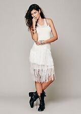 NIP Intimately FREE PEOPLE Fancy Fringe Swit Slip Dress Sequins Sheer S