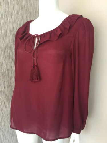 Jacquard Bnwt Biba Sheer 8 Size Blouse Berry Uk dSx1nvqx
