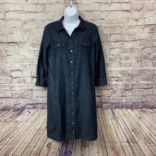 Talbots Womens Dark Wash Button Front Denim Shirt… - image 1