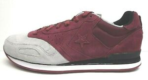 Converse Size 12 Gray Burgundy  Leather Sneakers New Mens Shoes
