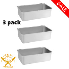 3 Pack 6 In Deep Full Size Stainless Steel Steam Table Spillage Pan 24 Gauge