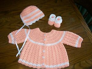 b992287bb903 Handmade Crochet Baby Girl Sweater Set. Orange White