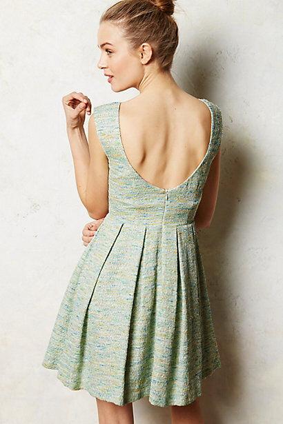 Anthropologie Pleated bluee Green Seaside Shimmer Tweed Dress Size XL  228