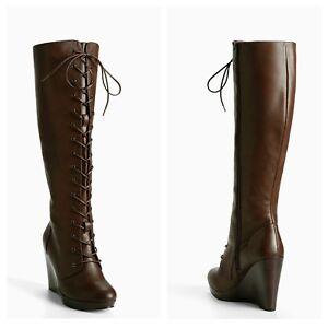 28445031557 NIB Torrid 9.5W Lace Up Combat Wedge Boots (Wide Calf)  182