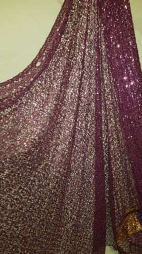 1.5M purply pink  sequins mesh web  LACE   FABRIC 58/""