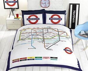 London-Map-Reversible-Underground-Tube-Duvet-Cover-Quilt-Cover-Bedding-Set-New