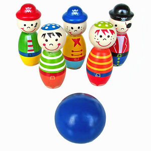 Kids Children Wooden Mini Bowling Skittles Game Rolling Balls Exercise Toys
