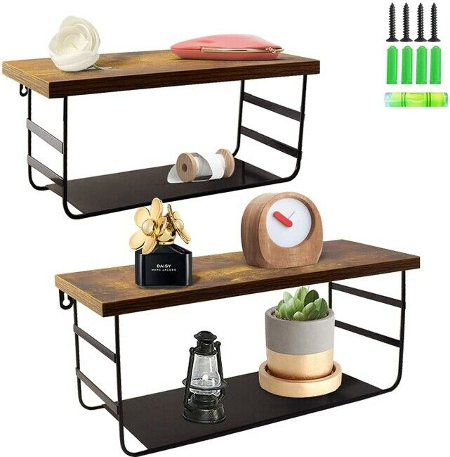 Metal Wall Shelf With 4 Wooden Tier Metallic Gunmetal Gray For Sale Online Ebay