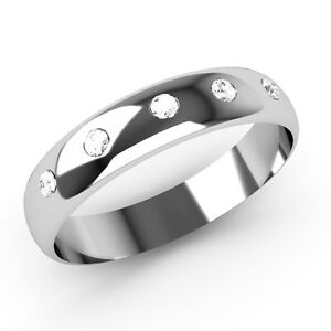 New-White-Gold-Diamond-Wedding-Ring-4mm-Width-D-Shaped-Band-Set-With-5-Diamonds