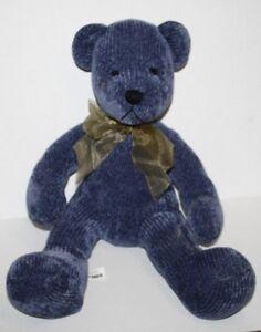Pier-1-BLUE-CHENILLE-TEDDY-BEAR-16-034-Green-Bow-Bean-Bag-Plush-Stuffed-Soft-Toy