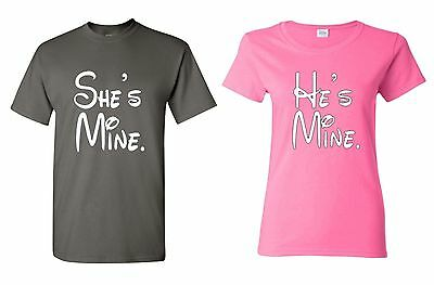 He's Mine & She's Mine COUPLE T-SHIRT super cute couple matching LOVE tees