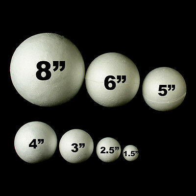 Set of 6 Polystyrene Foam Balls Various Sizes Craft Science Project Wedding