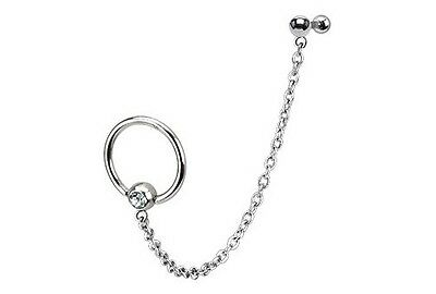 Chain Captive Bead Rings CBR TRAGUS CARTILAGE Helix Double Ear Piercing Jewelry