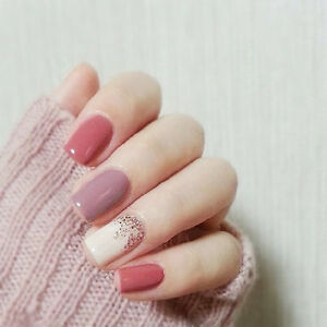 Image Is Loading 24Pcs Jump Color Pink Purple Full Acrylic Nails