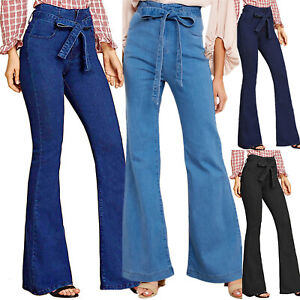 Women-High-Waisted-Tie-Front-Skinny-Jeans-Wide-Leg-Pants-Denim-Belted-Trousers