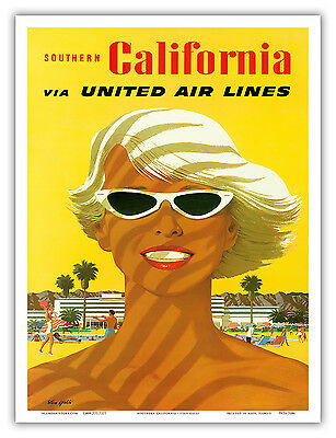 18x24 1950s Hawaiian Girl Vintage Style Airline Travel Poster