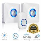 Wireless Doorbell Chime 1000FT LED 4 Volume 2 Plugin Receiver for Home Business