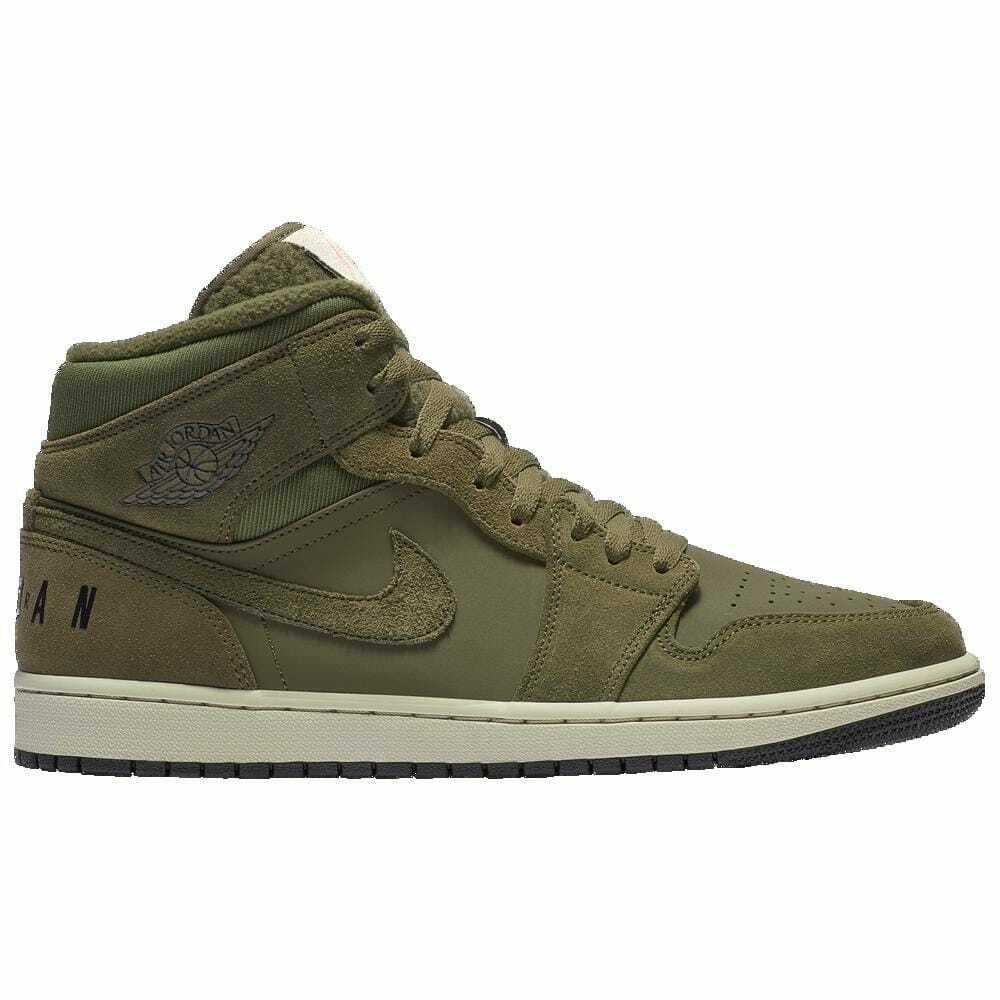 Jordan AJ 1 Mid SE Olive Canvas Black Light Bone Cone Men's Q6579300