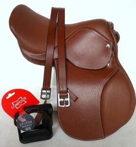 13-034-14-034-English-Close-Contact-Mini-Pony-Saddle-Bridle-Leathers-48-034-Tan-Value-Pk